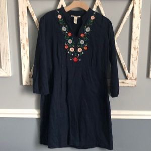 Lucky Brand | Navy Floral Embroidered Dress